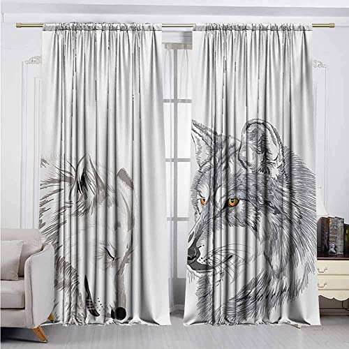 Alston Bertha Sketchy Blackout Curtain Two Wolf Portraits Sleeping Hunting Carnivore Animals Nature Wildlife Theme 2 Panel Sets W52 x L72 Inch Beige Grey Orange