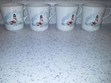 4 Corelle Outer Banks Lighthouse mugs coffee cups & Amazon.com | 4 Corelle Outer Banks Lighthouse mugs coffee cups ...