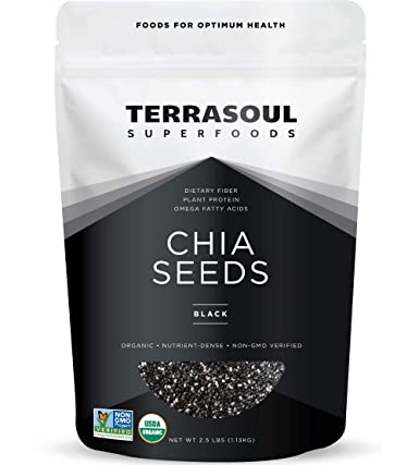 Terrasoul Superfoods Organic Black Chia Seeds, 2.5 Pounds