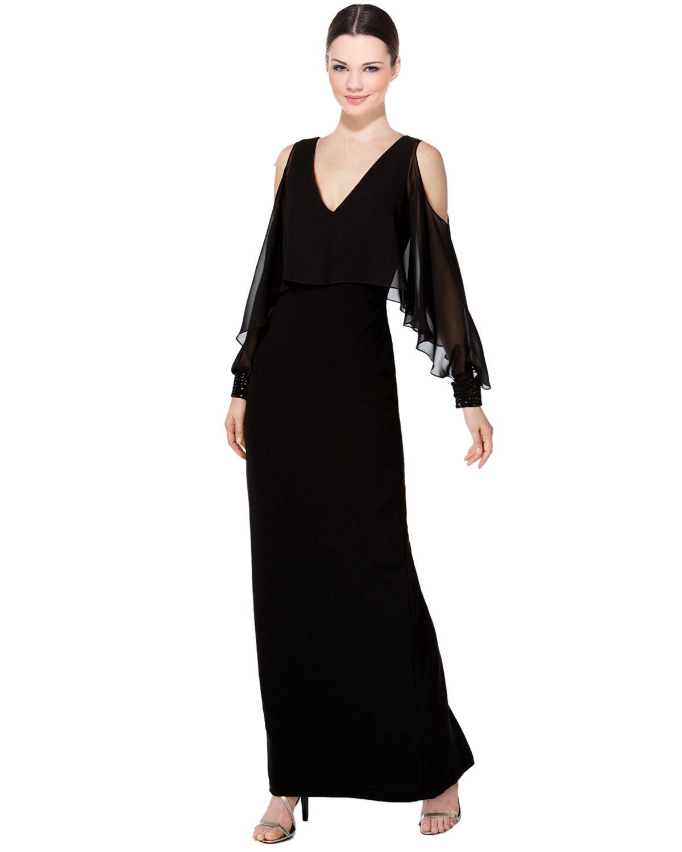 Calvin Klein Embellished Ruffle Cold Shoulder Evening Gown Dress at ...