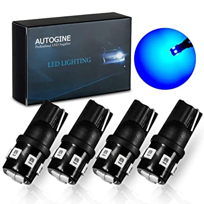 AUTOGINE 194 LED Bulbs Ultra Blue 300LM Super Bright 9-SMD 2835 Chipsets T10 168 175 2825 W5W LED Replacement Light Bulbs for Car Interior Dome Map Door License Plate Lights (Pack of 4): Automotive