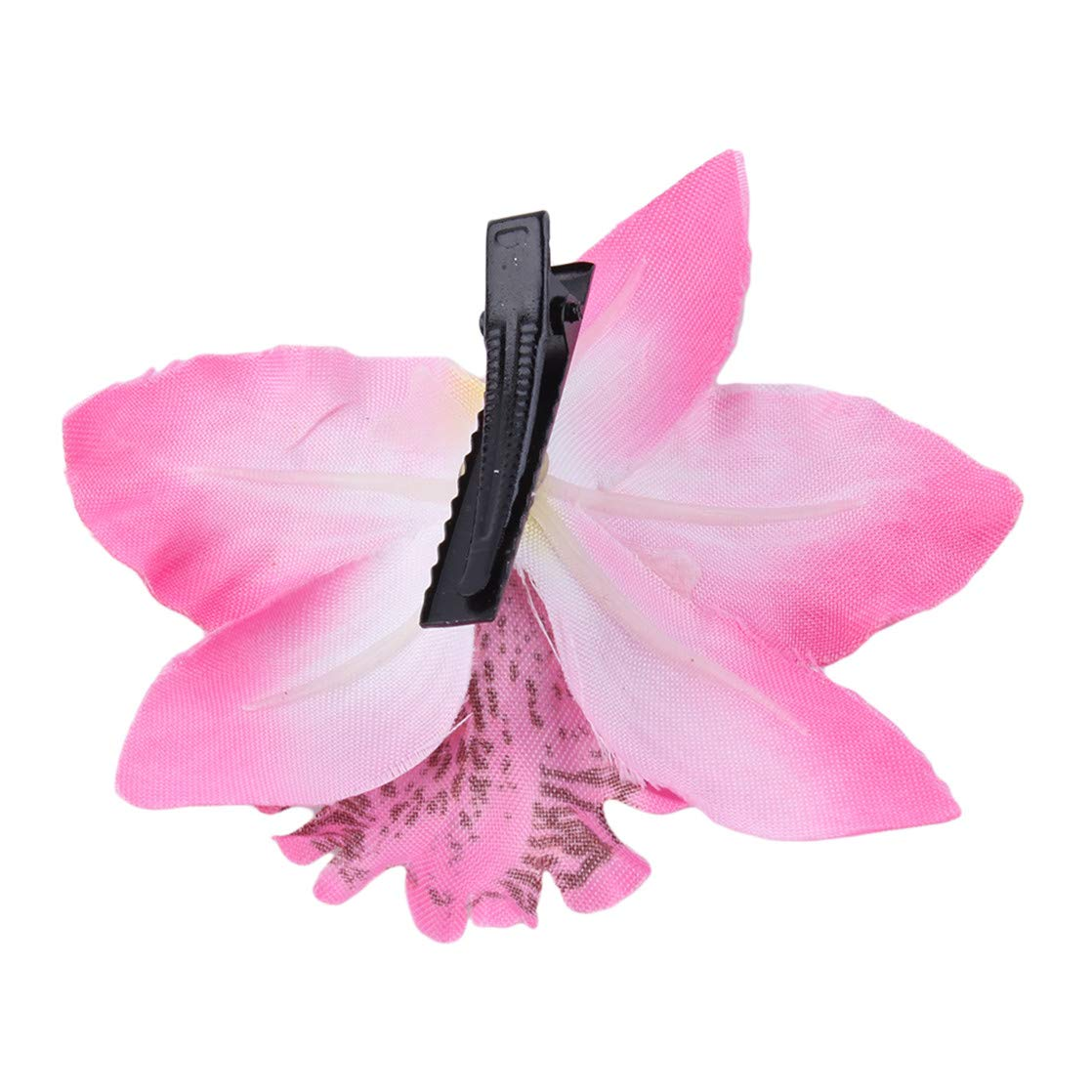 KUHRLRX Haarnadel Blume Haarspange Braut Strand Hochzeit Haarschmuck Multicolor Doppel Orchidee Haarspange Blau