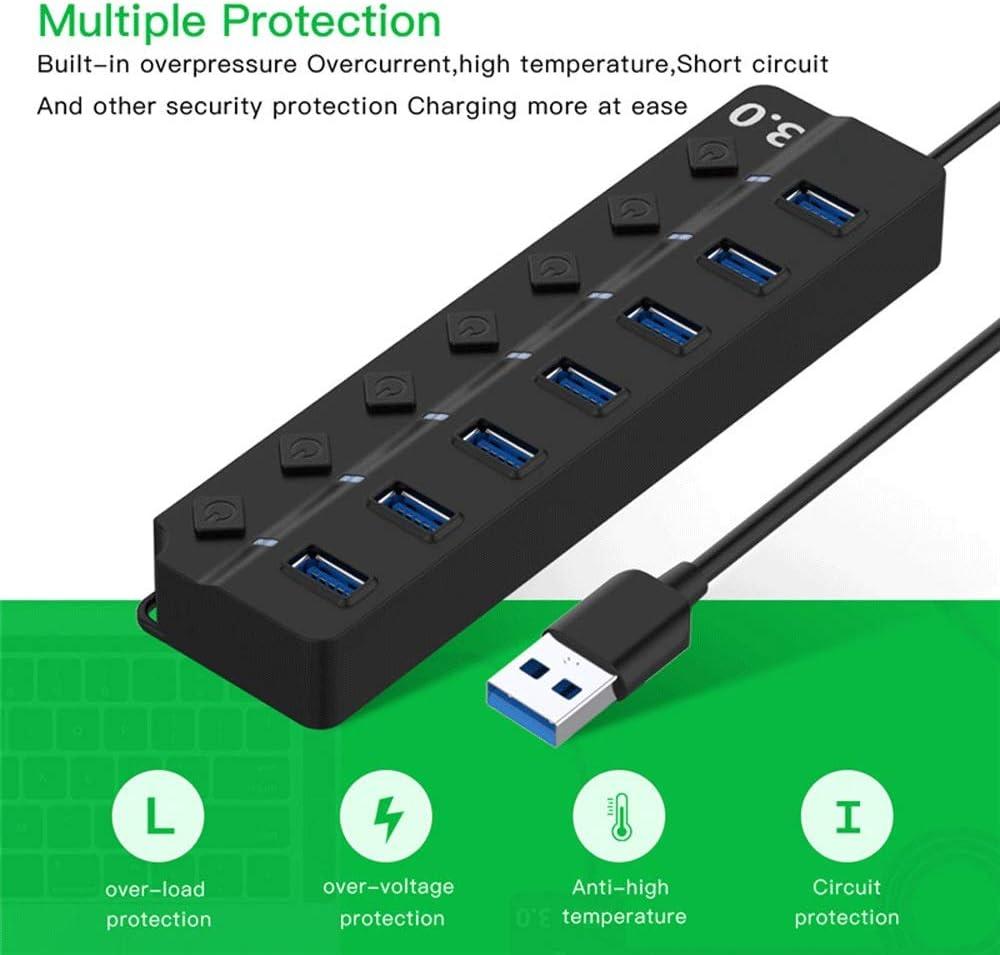 IhDFR USB 3.0 Splitter 4//7 Port Splitter with Indicator Switch Notebook Computer Multi-Port Hub Size : Short