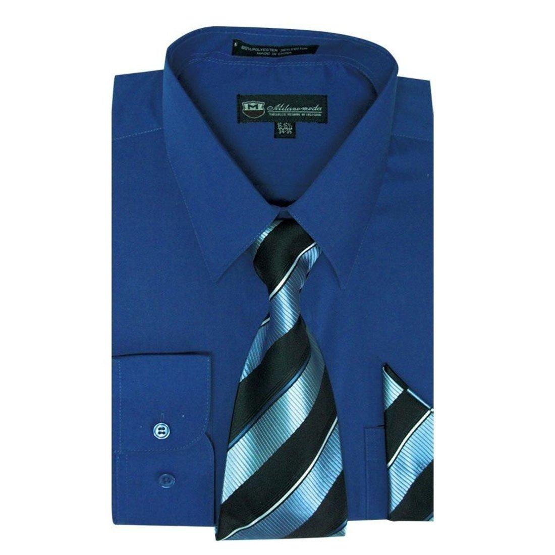 Milano Moda Men's Dress Shirt with Tie/Handkerchief HLSG21A New York Brand