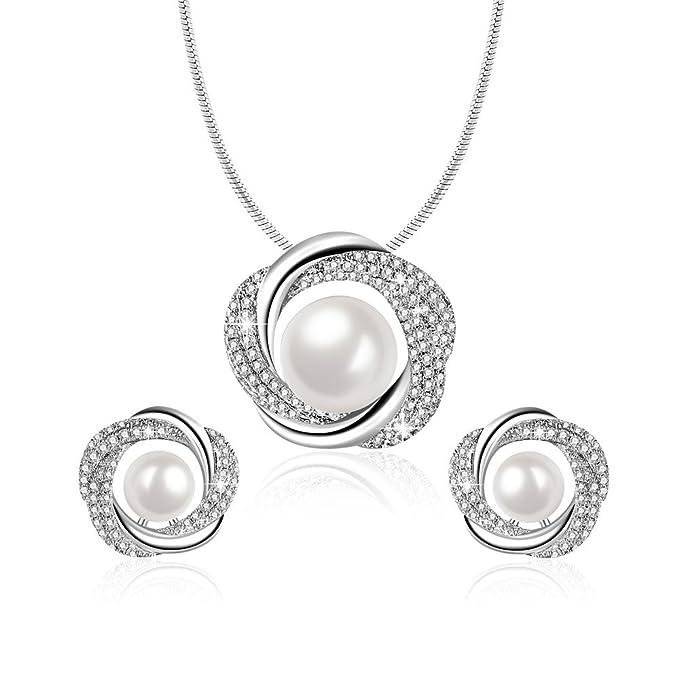 Angelady Elegante Collar de Perlas y Pendientes Mujer De Plata Esterlina 925 sin oído Conjunto de Joyas Cristales de Swarovski, Aniversario Cumpleaños Regalo para Novia Esposa Madre