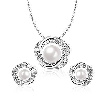 ea59219e1f92 Angelady® Elegante Collar de Perlas y Pendientes para Mujer ...