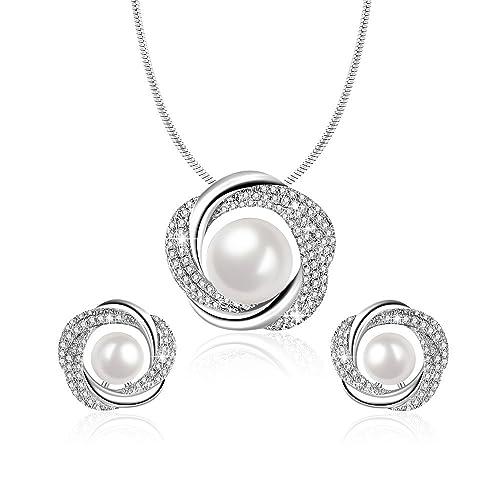 41846ca813c3 Angelady Elegante Collar de Perlas y Pendientes para Mujer
