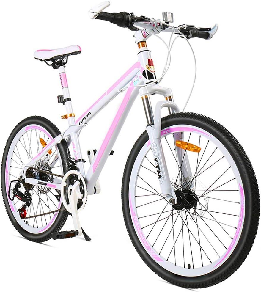 XYZLEO Bicicleta De MontañA 24 Velocidades Bicicletas De MontañA 24 Pulgadas Ligero Moda Marco De Poste Bajo DiseñAdo para Damas Bicicleta Rendimiento Estable Mojadura Freno De Doble Disco MTB: Amazon.es: Deportes y