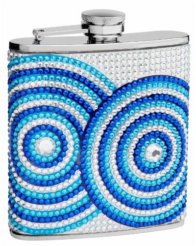 (Top Shelf Flasks 6 oz. Circle Pattern Rhinestone, Crystal Beads Hip Flask)
