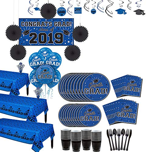 Party City Super Congrats Grad Blue 2019 Graduation Party Supplies for 54 Guests with Banner, Tableware and Balloons