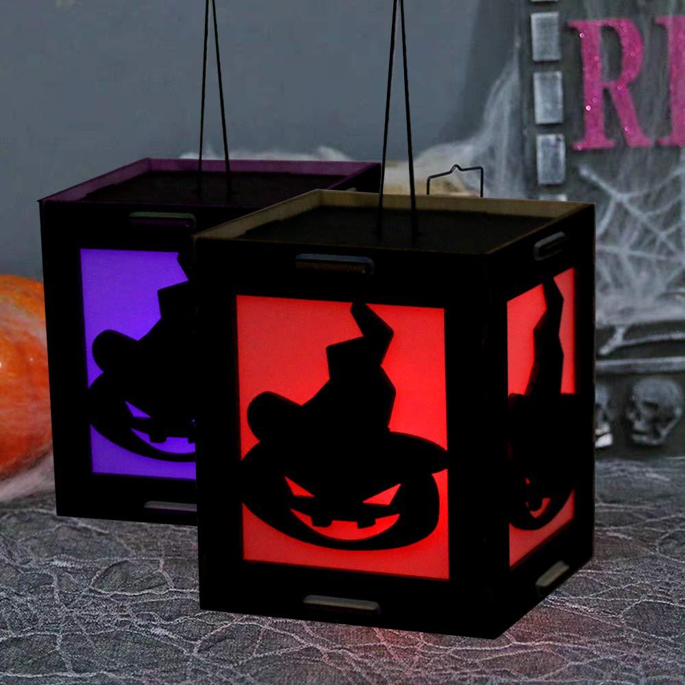 ext/&eacut Halloween DIY D/écoration Lumi/ères f/é/ériques,Bo/îtes de lanterne dartisanat en bois Halloween club f/ête int/érieur maison lampe de batterie d/éclairage de bougie /à LED pour festival