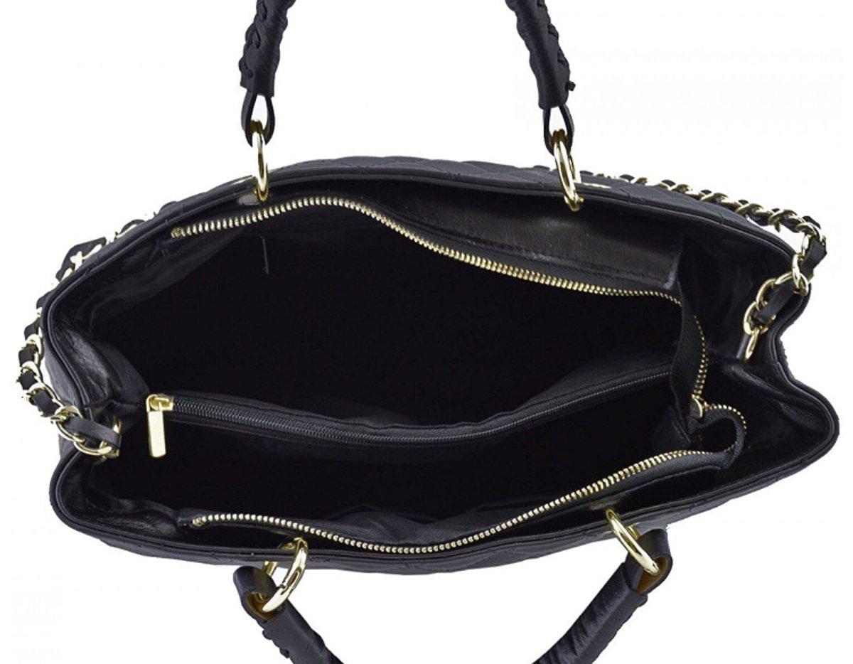 Superflygbags damväska modell ALSACE (handväska) äkta läder stoppat Made In Italy Svart