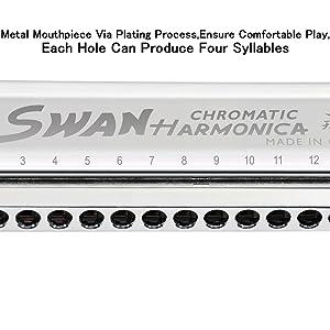 SWAN Chromatic Harmonica SW 1664 Key of C 16 Hole 64 Tones Harmonica for Children Beginner Musical Beginner Education