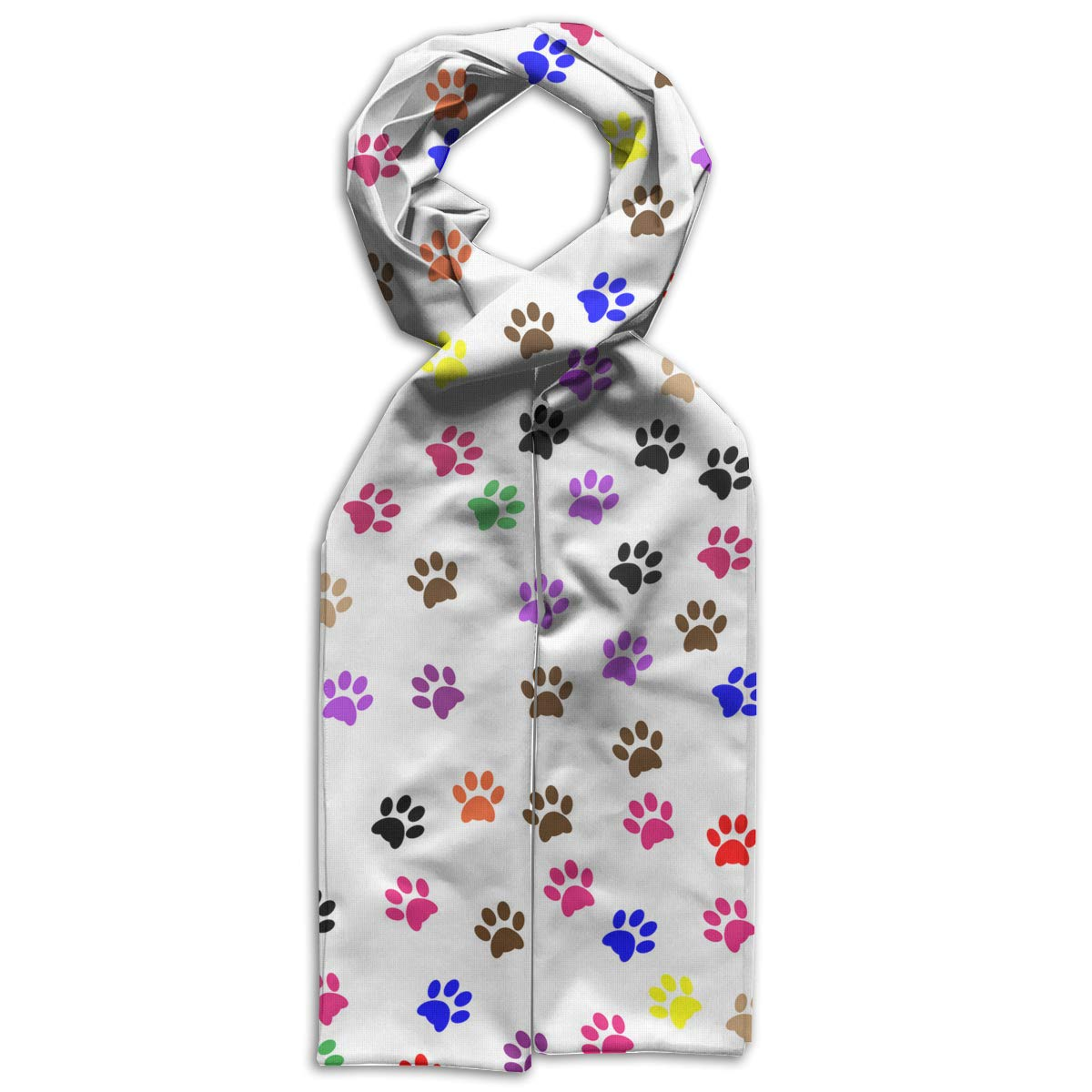 Cute Dog Puppy Paw Prints Kids Printed Scarf Soft Winter Infinity Scarf Warmer Travel Scarf For Kids Perfect Birthday Gift