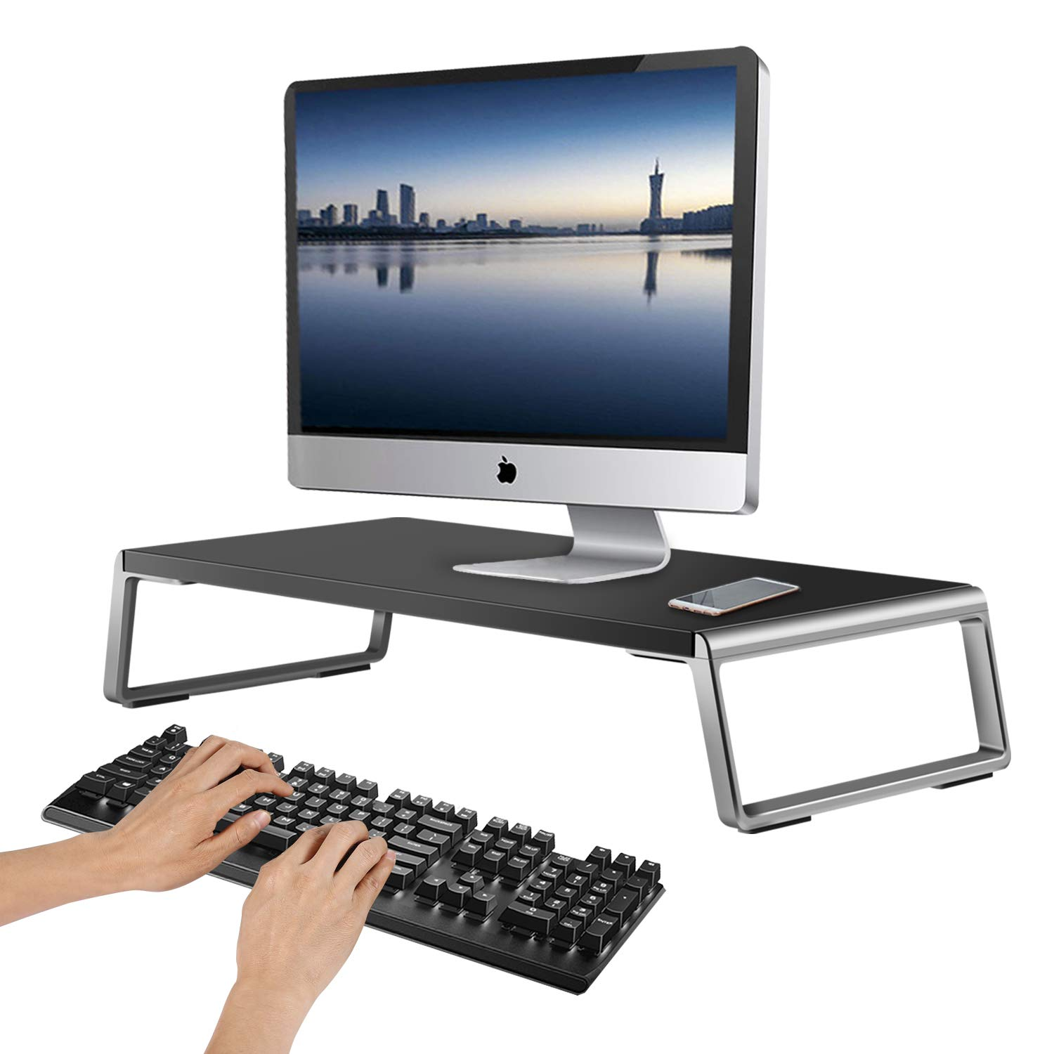 AboveTEK Monitor Stand with Aluminum Feet, Wood Computer Riser for Laptop iMac TV LCD Display Printer, Desk Storage for Keyboard, 20x9.5 inch Desktop Organizer for Home Office Dorm Workspace, Black