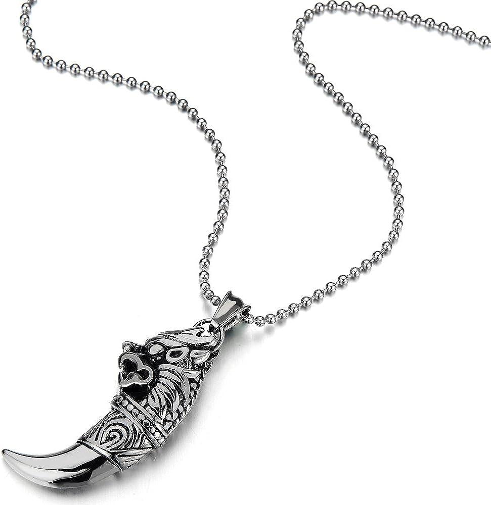 avec Blanc Acrylique et Cordon en Cuir R/églable Collier Pendentif Homme COOLSTEELANDBEYOND Pendentif Bronze Dragon Corne
