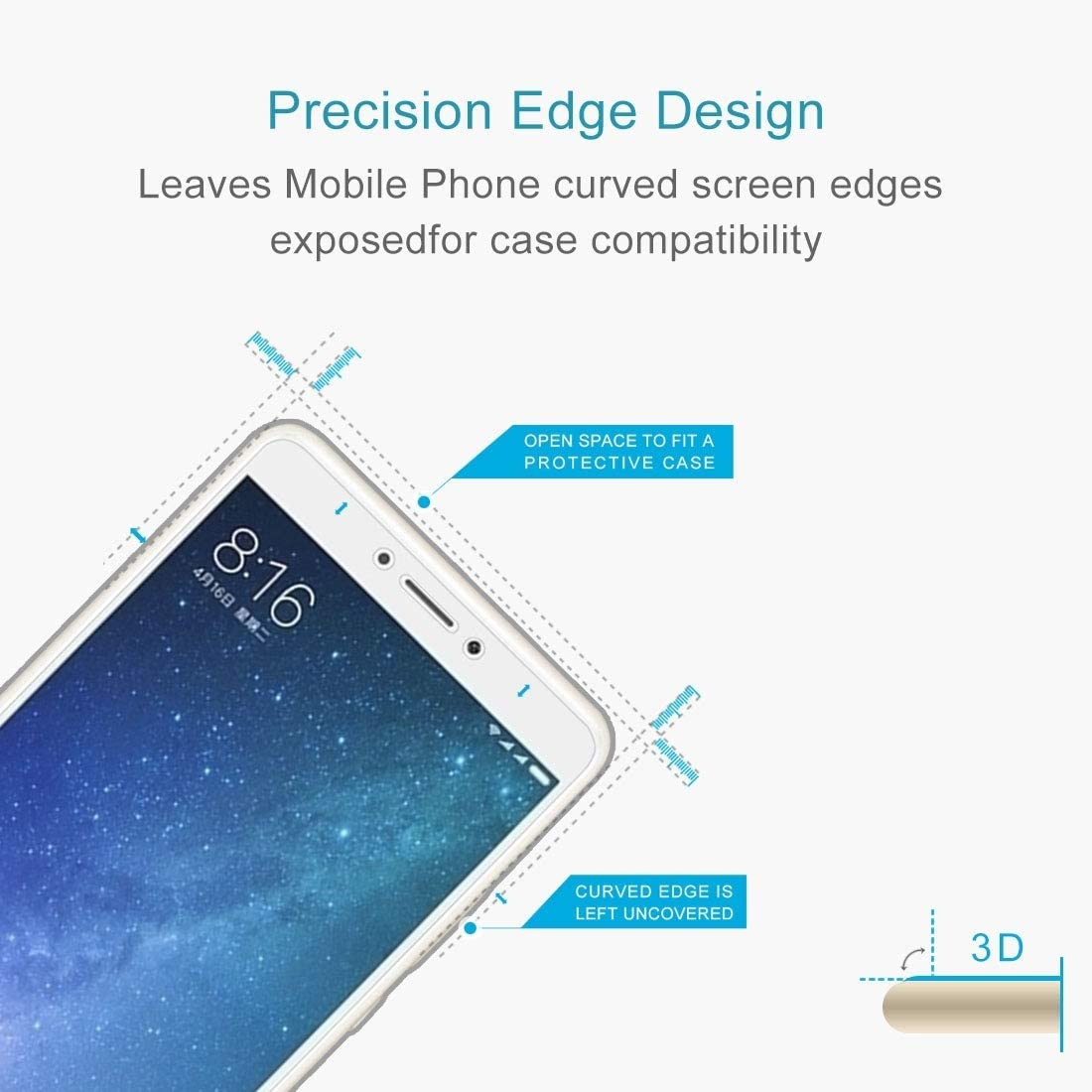 Dongdexiu Mobile Phone Accessories 100 PCS for Xiaomi Mi Max 2 0.3mm 9H Surface Hardness 2.5D Explosion-Proof Non-Full Screen Tempered Glass Screen Film Tempered Glass Film