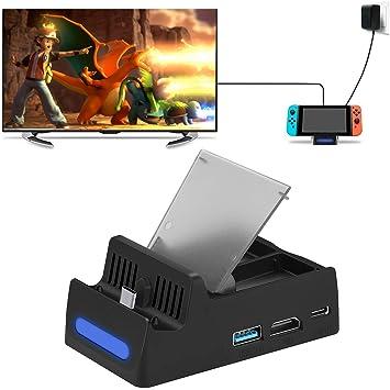 HEYSTOP Base de Carga para Nintendo Switch con Cable HDMI: Amazon ...