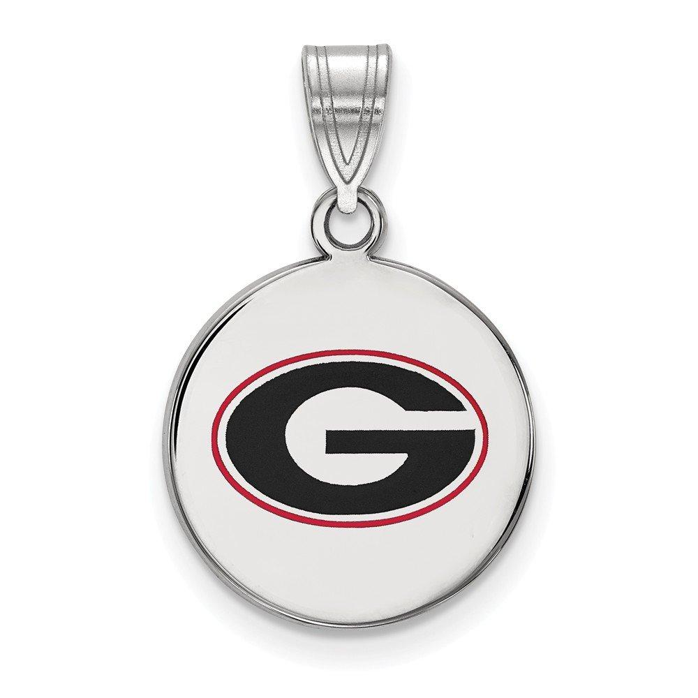 Jewel Tie 925 Sterling Silver University of Georgia Medium Enamel Disc Pendant