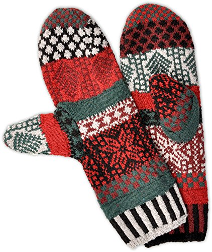 Solmate Socks - Mismatched Fleece Lined Mittens/Gloves for Women or For Men, Made in USA One Size Fits Most Adults, Poinsettia Winter Pattern