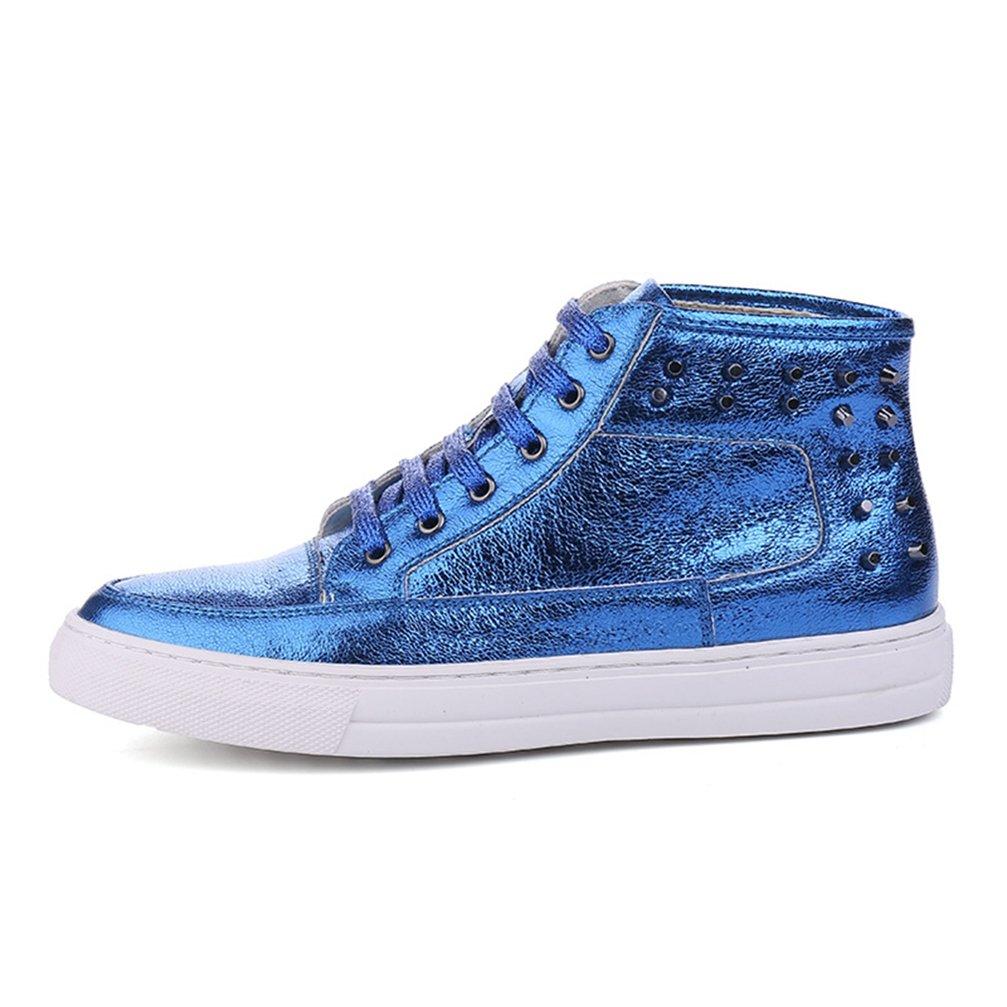 [ムリョ]メンズ シューズ ハイカット スケートボードシューズ メンズ デッキシューズ スニーカー エナメル ハイ ブーツ シルバー ゴールデン 美容師 革靴 スタイリスト スケートボード パーティー 靴 レッド B07F11PKNL 26.0 cm 青色/ ブルー