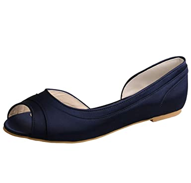 6a64fbb0c14c SERAPH MW060 Women Satin Peep Toe Ballet Ballerina Flats Wedding Prom  Bridesmaid Shoes Navy