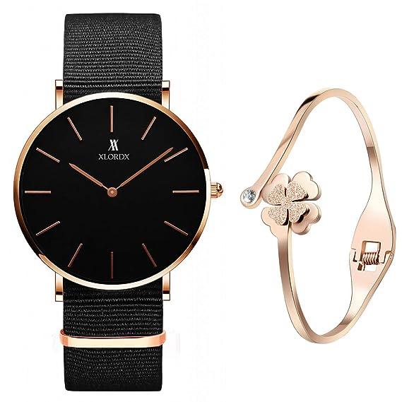 ef23ec4893e1 xlordx Classic - Reloj de pulsera analógico para mujer cuarzo Negro Nylon  pulsera