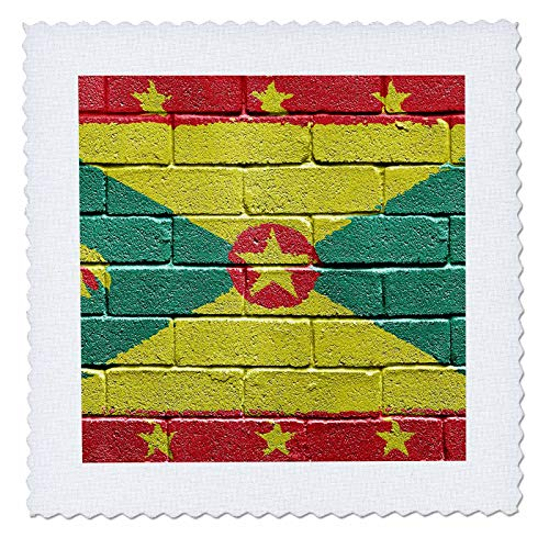 3dRose Carsten Reisinger Illustrations - National flag of Grenada painted onto a brick wall Grenadian - 10x10 inch quilt square (qs_155235_1)