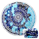 Ricdecor Beach Towel Mandala Round Beach Towel Blanket with Tassels Ultra Soft Super Water Absorbent Multi-Purpose Beach Throw 59 inch Across