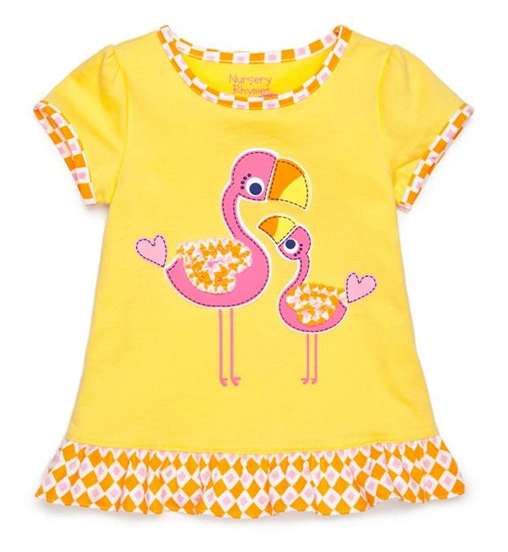 4a4f9f27 Amazon.com: Nursery Rhyme Play Baby Ruffled T-Shirt: Mama and Baby Flamingo  - Yellow (18 Months): Clothing