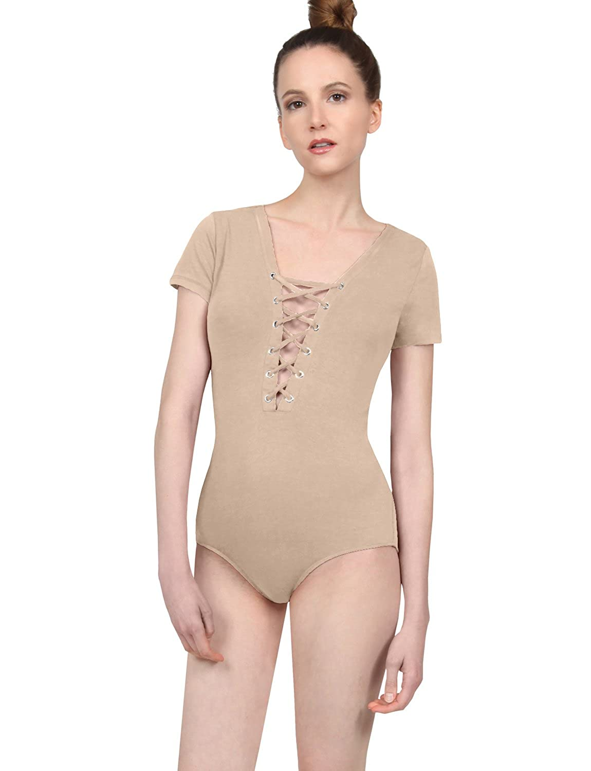67fff5a7 NE PEOPLE Womens Sexy Fitted Stretchy Short Sleeve Lace up Strap Snap  Button Bodysuit at Amazon Women's Clothing store: