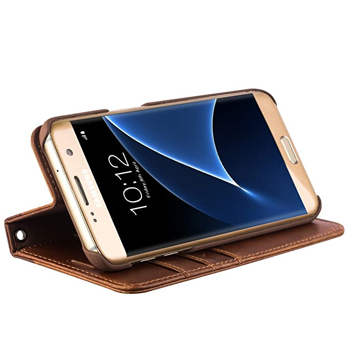 best website d2729 971ef Galaxy S7 Edge Case, Wallet case with Stand Feature, QIALINO Genuine  Leather Flip Cover for Samsung Galaxy S7 Edge, Light Brown