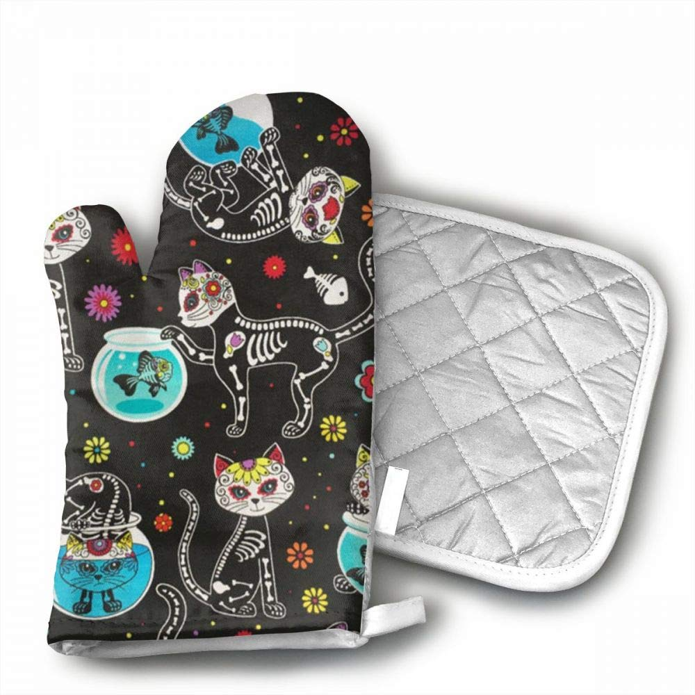 Sugar Skulls Cats Oven Mitts,Professional Heat Resistant Microwave BBQ Oven Insulation Thickening Cotton Gloves Baking Pot Mitts With Soft Inner Lining For Kitchen Cooking