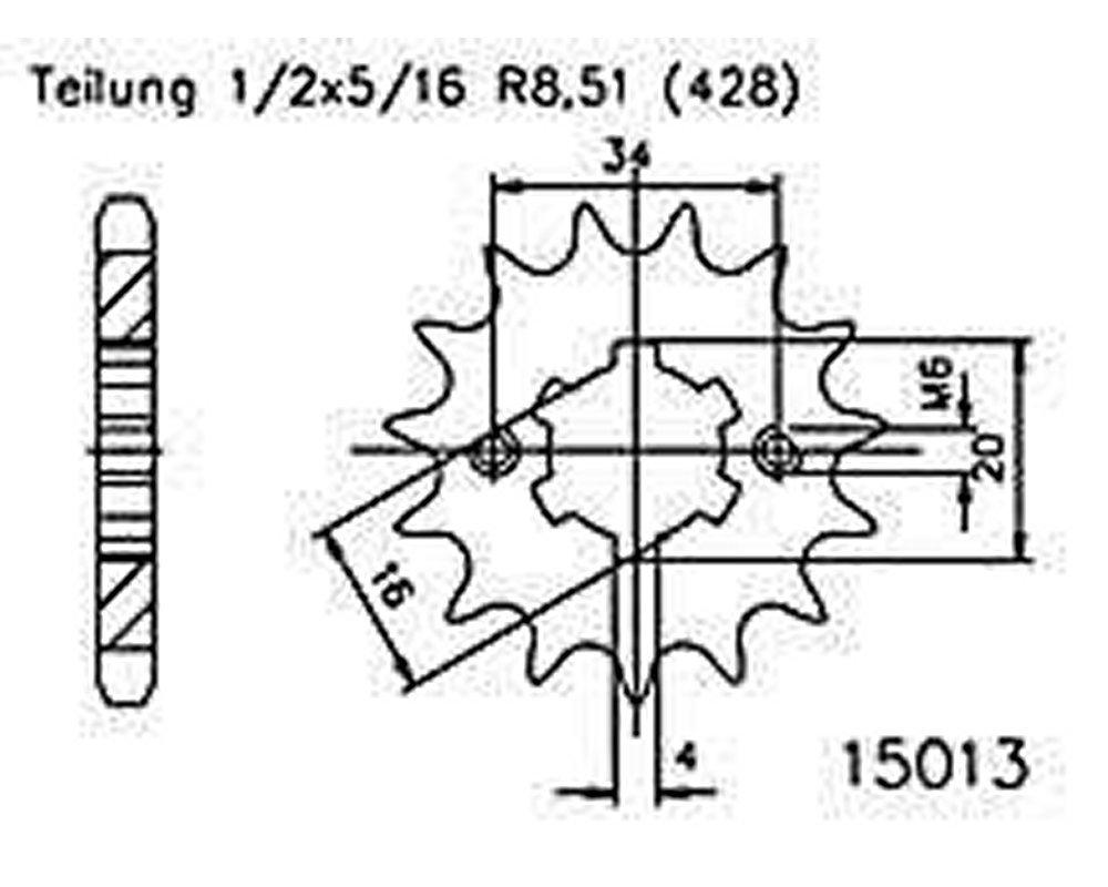 f/ür Yamaha XT 125 R 7401A 2005-2007 Ritzel 13 Z/ähne Stahl 428er Teilung 1//2x5//16