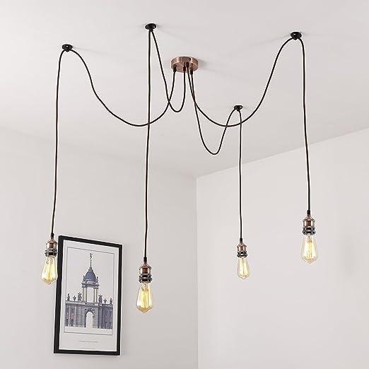 4 Way Ceiling Light Modern Vintage Industrial Metal Pendant Lamp Indoor Decor UK