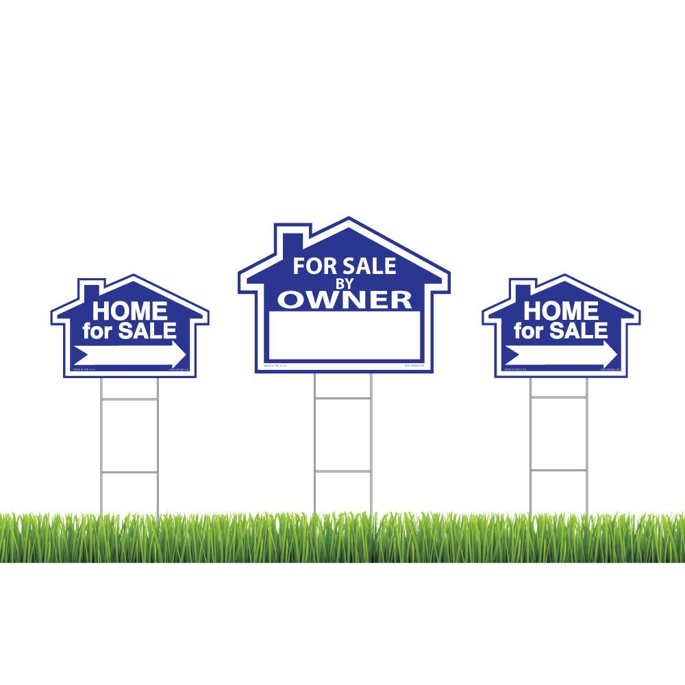 Sam's Signs For Sale By Owner Sign Kit - 3 Double Sided Signs and 3 Heavy Duty H-Stakes - Blue Property Signs 18'' X 24'' and 12'' X 18'' - Directional Arrows - FSBO Lawn Sign - Premium Real Estate Signs
