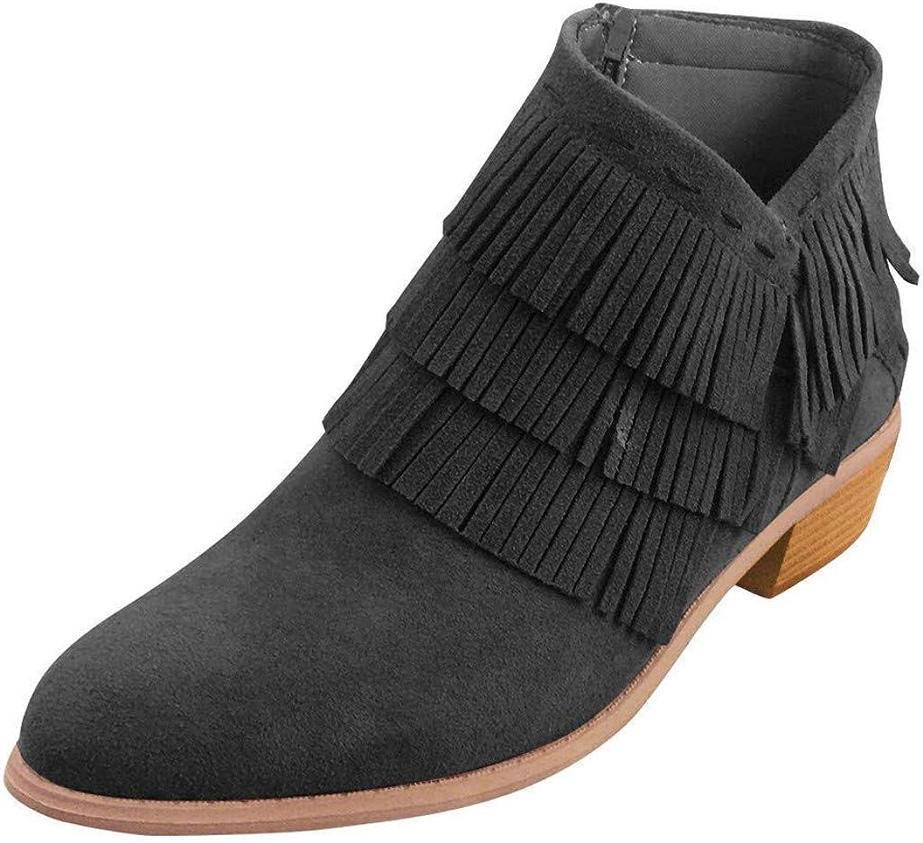 SANFASHION Bottes Vintage /à Bout Rond,Bottes /à la Cheville Gland Talon /épais Zipper Chaussures Romaines,Bottines Occidentales Chelsea Boots Bottine Femmes Talons Petite