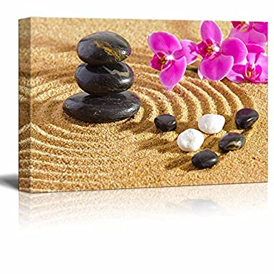 Canvas Prints Wall Art - Japanese Zen Garden with Stacked Stones | Modern Wall Decor/Home Decoration Stretched Gallery Canvas Wrap Giclee Print. Ready to Hang - 12