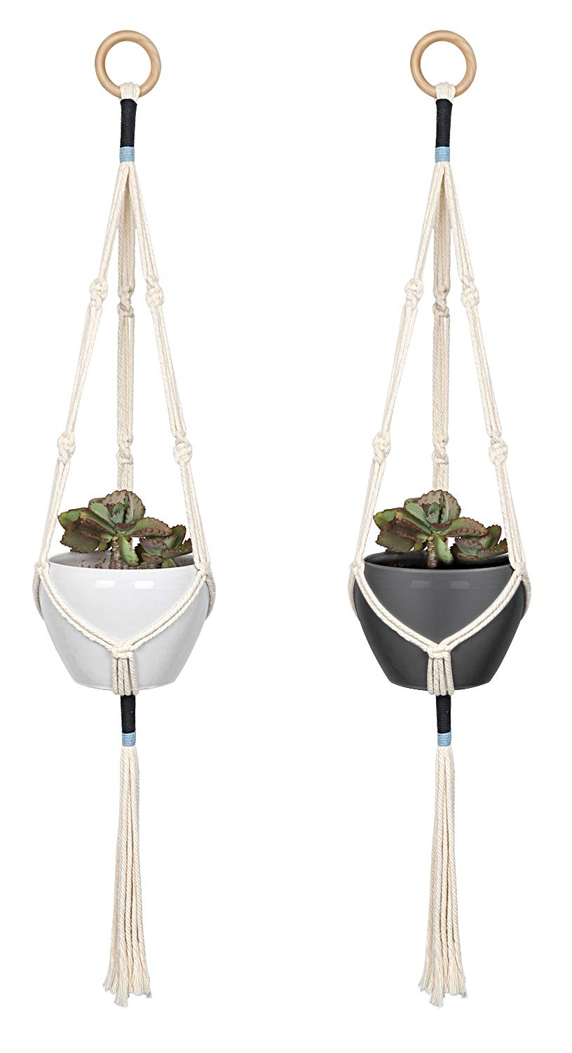 Macrame Plant Hangers - Macrame Plant Hanging Holders - Hanging Planters for Indoor Outdoor Plants Basket Pots Stands Cotton Cord 3 Legs 41 Inch in Length with Blue Details Boho Home Decor, 2Pcs