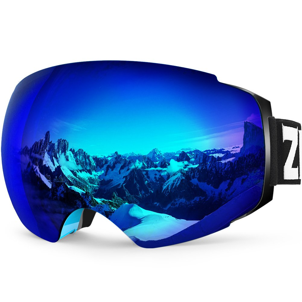 Zionor X4 Ski Snowboard Snow Goggles Magnet Dual Layers Lens Spherical Design Anti-Fog UV Protection Anti-Slip Strap for Men Women (VLT 13.67% Blue Frame Revo Blue Lens) by Zionor