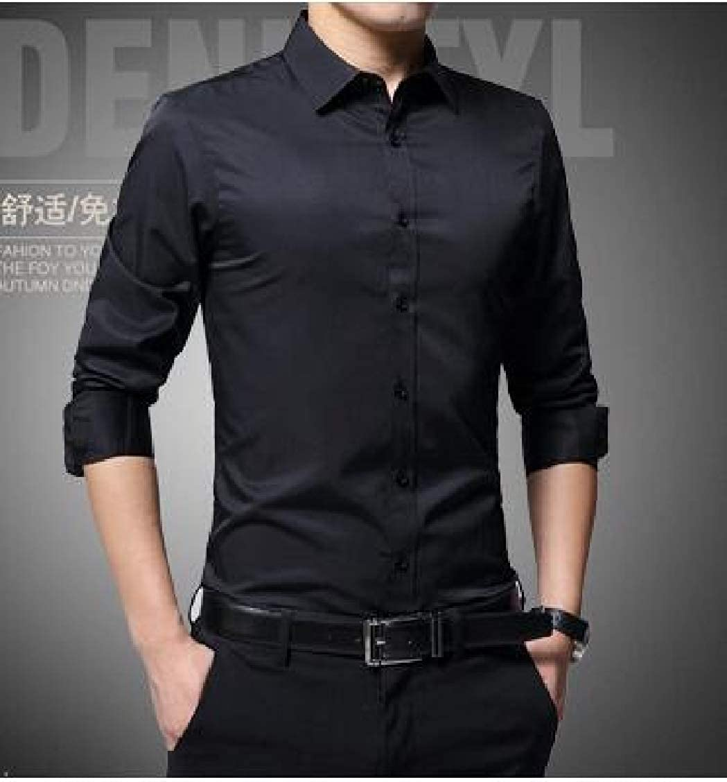 Sweatwater Men Long-Sleeve Button-Down Classic Pure Color Shirts