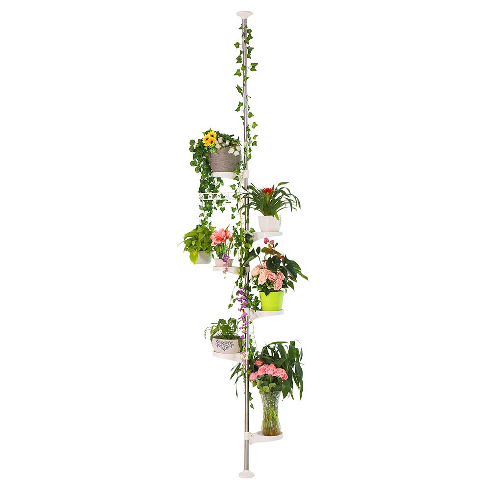 BAOYOUNI 7-Layer Indoor Plant Stands Spring Tension Pole Metal Flower Display Rack Space Saver Corner Floral Pot Hanger Shelf, Ivory by BAOYOUNI