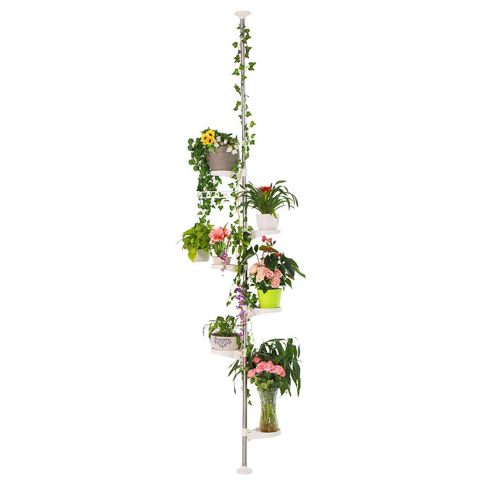 BAOYOUNI 7-Layer Indoor Plant Stands Spring Tension Pole Metal Flower Display Rack Space Saver Corner Floral Pot Hanger Shelf, Ivory