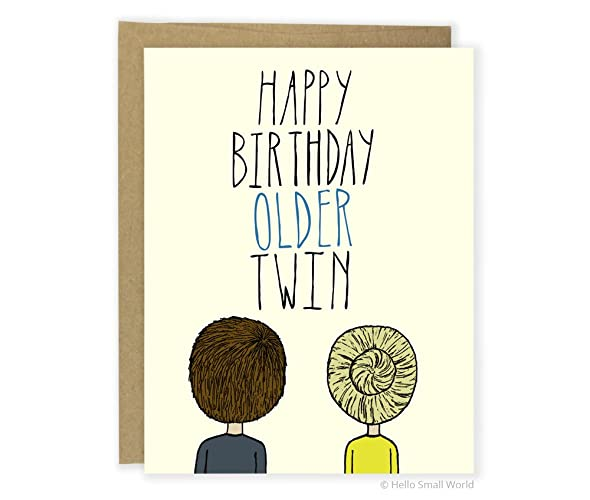 Twin Birthday Card Happy Older Partially Customizable