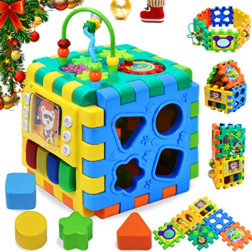 Maze Cube Bead (Forstart Activity Cube | 6 in 1 Multipurpose Play Center for Kids Toddlers Shape Color Sorter Beads Maze Time Learning Clock Skill Improvement Educational Game Toys Busy Learner Cube)