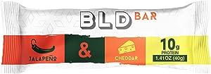 BLD Bar Savory Protein Bar | Gluten free & Low Sugar | Nachos Jalapeno Cheddar Flavor | Healthy Breakfast Snack| 10G Protein per Serving | 12 Bars per box