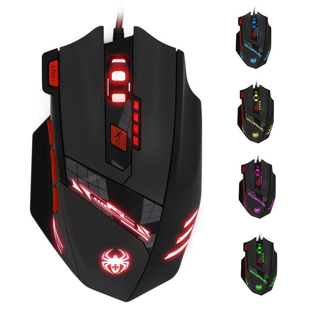 MAXIN Zelotes T90 Professional 9200 DPI High Precision USB Wired Gaming Mouse,8 Buttons,With 7 kinds modes of LED Light, Weight Tuning Set Compatible with Windows 7, 8, XP, Vista, ME, 2000 and so on.