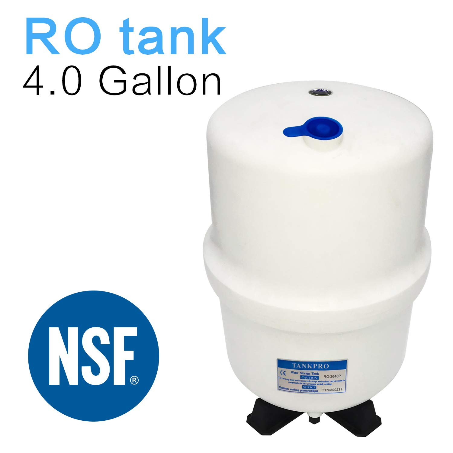 4.0 Gallon RO Water Storage Tank for Reverse Osmosis Systems -NSF Certificated by Geekpure
