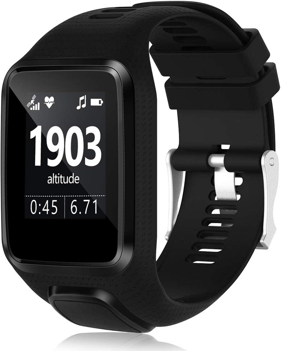 HUMENN Band Compatible with Tomtom Runner 2/3 Series,Spark 3,Golfer 2,Adventurer - Silicone Replacement Runner Watchband Watch Strap for Women Men
