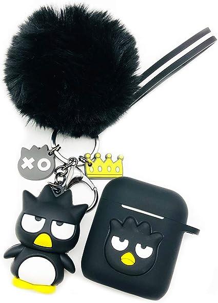 Ztowoto Airpods Case Pochette et Coque de Protection en Silicone pour Apple Airpods Charging Case avec Porte clés Airpods Pet et Stap Airpods (Noir)